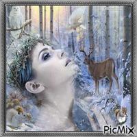 Portrait de femme sous la neige.