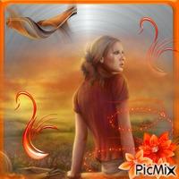 Femme orange sur fond gris