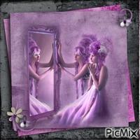 Frau mit Spiegel - Lila Töne