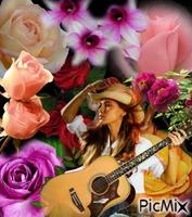 femme et les fleurs