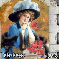 Vintage Frau mit Blumen