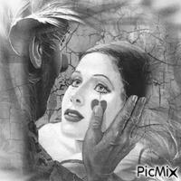 Femme clown en noir et blanc