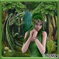 Une elfe avec un dragon tons verts.