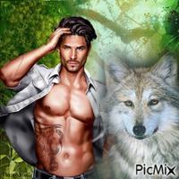 Homme avec un loup.