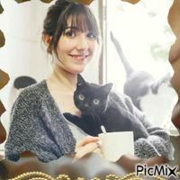 Portrait de Femme et de chats