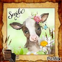"Farm animal and ""Smile"" text"