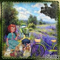 Picknick in der Nähe eines Lavendelfeldes