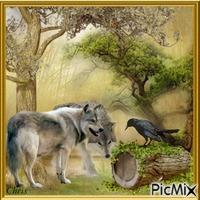 Loups et corbeau