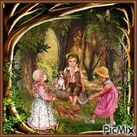Kinder im Wald spazieren