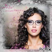 Belle femme avec lunettes et cheveux noirs