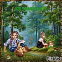 Zwei Kinder suchen im Wald Pilze