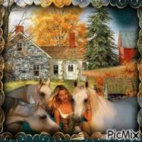 femme et chevaux à la campagne