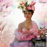 femme en rose vintage