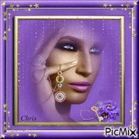 portrait en violet et or