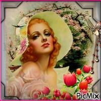 Femme victorienne avec un chapeau à fleurs