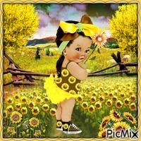 Bildnis eines Kindes und Sonnenblumen