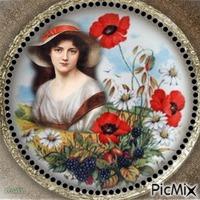 Portrait de femme avec des fleurs