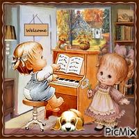 Kleines Mädchen, das Klavier spielt - Vintage