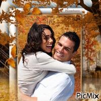 Couple romantique en automne.