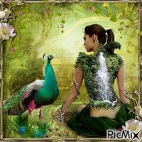 Femme fantasy et paons