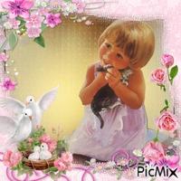 petite fille vintage en rose et sépia