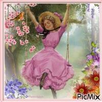 Une femme sur une balançoire.