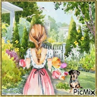 la fille et le jardin-aquarelle