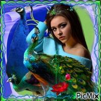 jeune fille avec l'amour des paons
