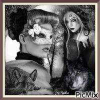 style gothique loup et femmes ,