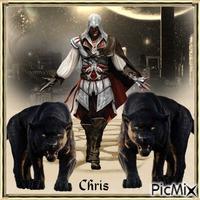 Le guerrier et ses panthères