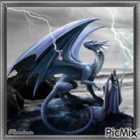 Femme et dragon.