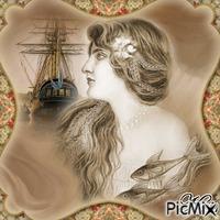 portrait de sirène vintage beige et marron⛄🎄🎅🏻💝