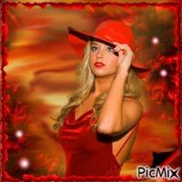 femme avec un chapeau
