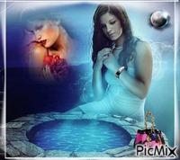 Femme sur fond bleu