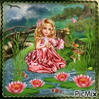 Mädchen mit Lotusblumen
