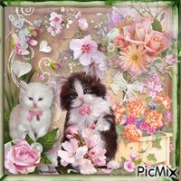 Deux chats et des fleurs.
