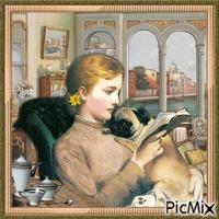 Frau und ihr Hund - Vintage
