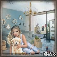 Mélanie et son chien chocomel