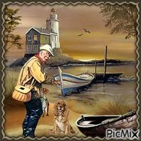 Ein Hund und ein Mann am Strand