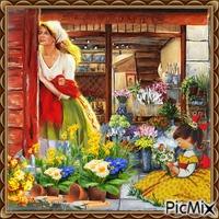 Blumenverkäufer