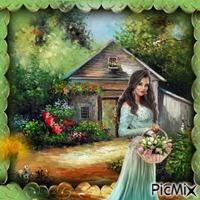 femme et ses tulipes
