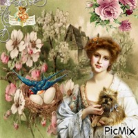 Femme vintage et son Animal de compagnie
