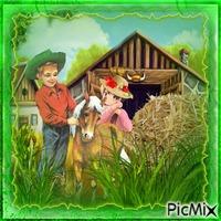 Luc le petit cowboy est sa copine Annie