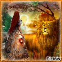 Femme et son lion au clair de lune.