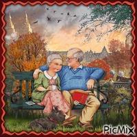 Herbstromantisches Paar