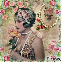 Portrait Femme Vintage avec Roses