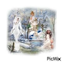 Paysage femme hiver