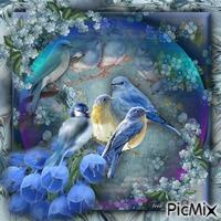 """""""Pássaros azuis em uma bolha"""""""