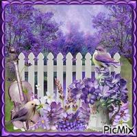 Ein Blumenstrauß aus dem Garten in lila Farbe - Wettbewerb