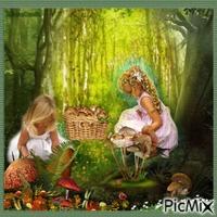 Deux enfants cherchent des champignons dans la forêt.